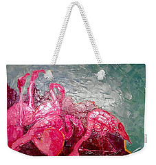 Weekender Tote Bag featuring the painting Pink Flamingoes by Ana Maria Edulescu