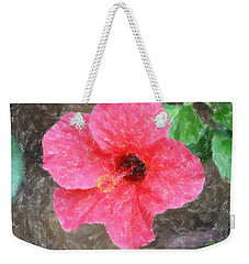 Weekender Tote Bag featuring the photograph Pink Hibiscus by Donna  Smith