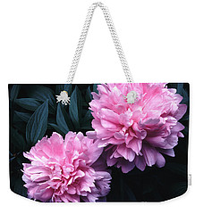 Weekender Tote Bag featuring the photograph Pink Peony Pair by Tom Wurl