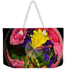 Pink Rose Globe Weekender Tote Bag by Phyllis Denton