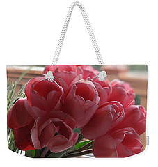 Weekender Tote Bag featuring the photograph Pink Tulips In Vase by Katie Wing Vigil