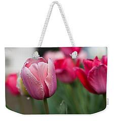 Pink Tulips With Water Drops Weekender Tote Bag