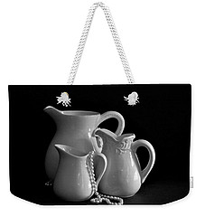 Pitchers By The Window In Black And White Weekender Tote Bag by Sherry Hallemeier
