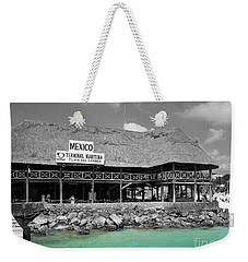 Weekender Tote Bag featuring the photograph Playa Del Carmen Mexico Maritime Terminal Color Splash Black And White by Shawn O'Brien