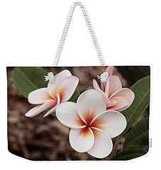 Weekender Tote Bag featuring the photograph Plumeria   Kona Hawii by James Steele