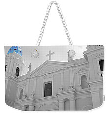 Weekender Tote Bag featuring the photograph Ponce Puerto Rico Cathedral Of Our Lady Of Guadalupe Color Splash Black And White by Shawn O'Brien