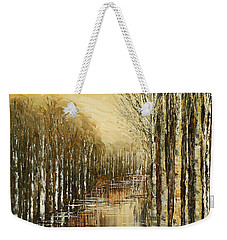 Weekender Tote Bag featuring the painting Pond Security by Tatiana Iliina