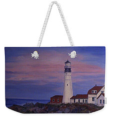 Weekender Tote Bag featuring the painting Portland Head Lighthouse At Dawn by Julie Brugh Riffey