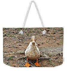 Weekender Tote Bag featuring the photograph Portrait Of An Alabama Duck by Verana Stark