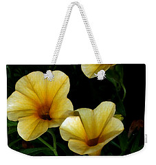 Weekender Tote Bag featuring the painting Pretty In Yellow by Karen Harrison