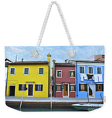 Weekender Tote Bag featuring the photograph Primary Colors In Burano Italy by Rebecca Margraf