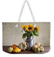 Pumpkins And Sunflowers Weekender Tote Bag by Nailia Schwarz
