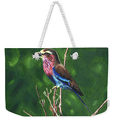 Purple And Blue Bird Weekender Tote Bag