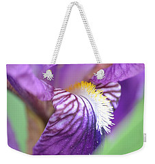 Weekender Tote Bag featuring the photograph Purple Iris by JD Grimes