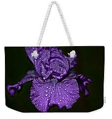 Purple Iris With Water Drops Weekender Tote Bag