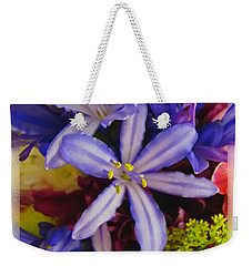 Weekender Tote Bag featuring the photograph Purple Stars by Debbie Portwood