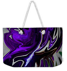 Weekender Tote Bag featuring the digital art Purple Swirl by Karen Harrison