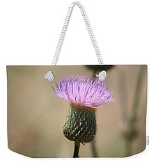 Weekender Tote Bag featuring the photograph Purple Thistle by Donna  Smith