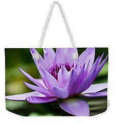 Purple Petals Water Lily Weekender Tote Bag