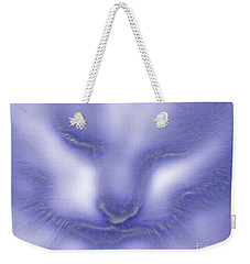 Weekender Tote Bag featuring the photograph Digital Puss In Blue by Linsey Williams