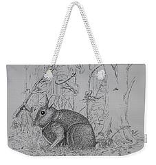 Rabbit In Woodland Weekender Tote Bag by Daniel Reed