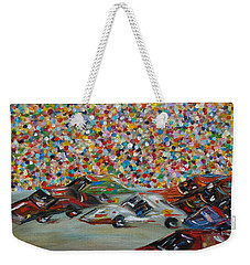 Weekender Tote Bag featuring the painting Race Day by Judith Rhue