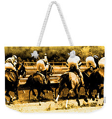 Weekender Tote Bag featuring the photograph Race To The Finish Line by Alice Gipson
