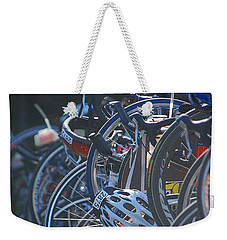Weekender Tote Bag featuring the photograph Racing Bikes by Sarah McKoy