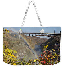 Weekender Tote Bag featuring the photograph Rainbow At Lower Falls by William Norton