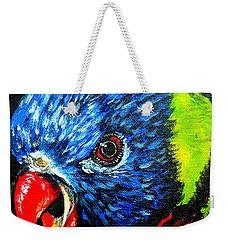 Weekender Tote Bag featuring the painting Rainbow Lorikeet Look by Julie Brugh Riffey