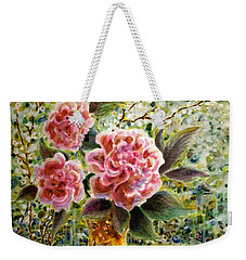 Weekender Tote Bag featuring the painting Rainy Afternoon Joy by Dee Davis
