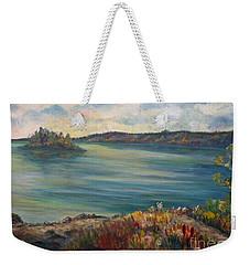 Weekender Tote Bag featuring the painting Rainy Lake Michigan by Julie Brugh Riffey