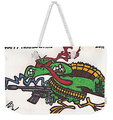 Weekender Tote Bag featuring the drawing Rambo Turkey by Jeremiah Colley