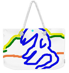 Weekender Tote Bag featuring the painting Reclining Cat In Blue by George Pedro