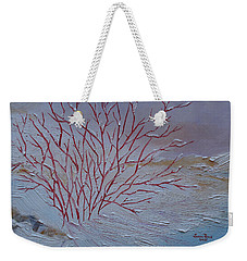 Weekender Tote Bag featuring the painting Red Branches by Judith Rhue