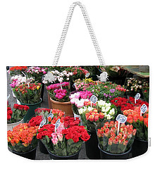 Red Flowers In French Flower Market Weekender Tote Bag by Carla Parris