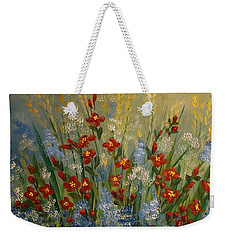 Red Flowers In The Garden Weekender Tote Bag