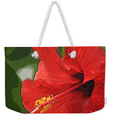 Red Hibiscus Weekender Tote Bag by Donna  Smith