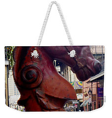 Weekender Tote Bag featuring the photograph Red Horse Head Post by Alys Caviness-Gober