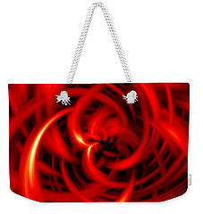 Weekender Tote Bag featuring the digital art Red Hot by Davandra Cribbie