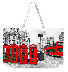 Weekender Tote Bag featuring the photograph Red London by Luciano Mortula