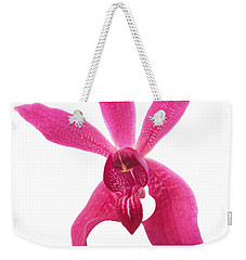 Weekender Tote Bag featuring the photograph Red Orchid Head by Atiketta Sangasaeng