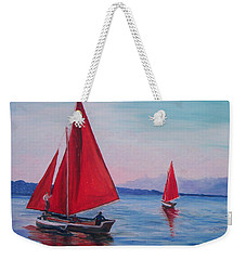 Weekender Tote Bag featuring the painting Red Sails On Irish Coast by Julie Brugh Riffey