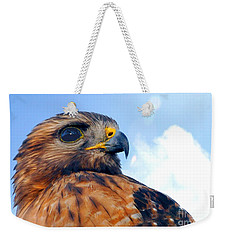 Weekender Tote Bag featuring the photograph Red Shouldered Hawk Portrait by Dan Friend