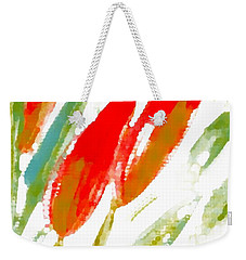 Weekender Tote Bag featuring the digital art Red Tulips by Barbara Moignard