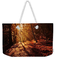 Weekender Tote Bag featuring the photograph Reelig Sun by Gavin Macrae