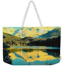 Reflecting On Auke Lake Weekender Tote Bag by Myrna Bradshaw