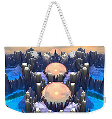 Weekender Tote Bag featuring the digital art Reflection Of Three Spheres by Phil Perkins