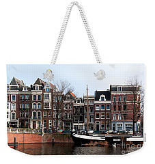 Weekender Tote Bag featuring the digital art River Scenes From Amsterdam by Carol Ailles