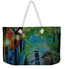 Weekender Tote Bag featuring the painting Romantic Stroll Series 1 by Leslie Allen